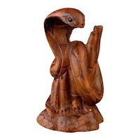 Antique Snake Netsuke, Japanese boxwood Cobra