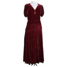 Vintage 1930's copper velvet evening dress