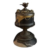 Antique French inkwell, bronze dove, ink stand