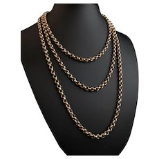 Victorian 9k gold longuard chain, necklace