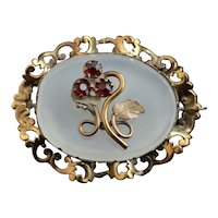 Antique Victorian Chalcedony and Garnet paste flower brooch
