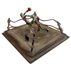 Antique bronze Boxing Toads, Franz Bergman