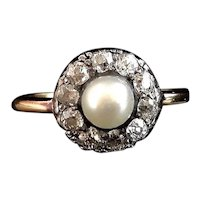 Antique diamond and pearl cluster ring, 18k gold