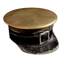 Rare antique travel inkwell, WW1, military cap