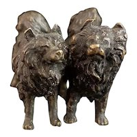 Antique bronze dog miniatures, Pomeranian