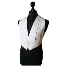 Vintage Art Deco Gents white cotton waistcoat, Sulka and Co