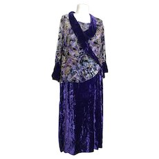 Vintage Art Deco velvet devore dress, 1920's