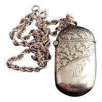 Antique Victorian silver vesta case, Ivy Engraved