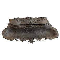 Antique cast iron inkstand, E G Zimmermann