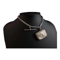 Antique silver albert chain, vesta case