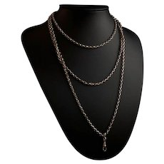Antique Victorian longuard chain, rose gold plated