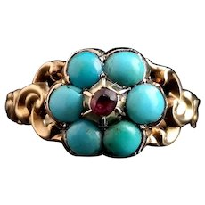 Antique Georgian mourning ring, 22k, Turquoise and Ruby