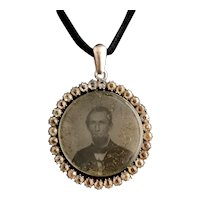 Victorian paste mourning pendant, silver