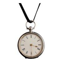 Antique fine silver ladies pocket watch, fob watch