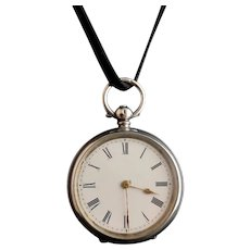 Antique fine silver ladies pocket watch, fob watch