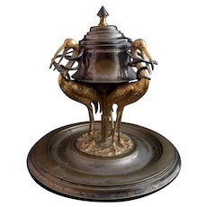 Antique French inkwell, 19th century, Storks and Snakes