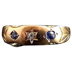Victorian Sapphire and Diamond ring, 15ct gold