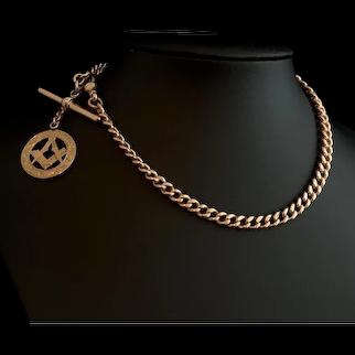 Antique 9ct Rose gold Albert chain, Masonic fob