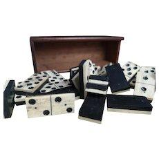 Antique bone dominoes, mahogany box