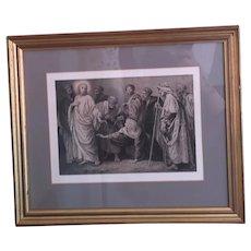 Antique French religious print, Bida