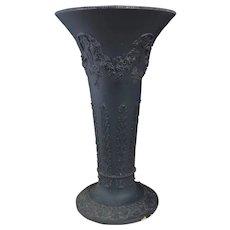 Antique Wedgwood Black basalt trumpet vase