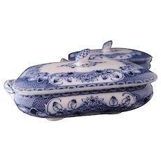 Antique flow blue tureens, onion pattern