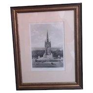 Antique print, Albert Memorial, engraving