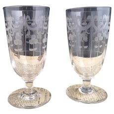 Antique glass tumblers, etched, pair