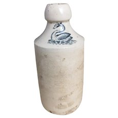 Scarce antique stoneware ginger beer bottle, Swan