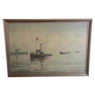 Vintage oil on board, nautical artwork, framed