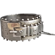 Victorian silver buckle bangle, wide aesthetic
