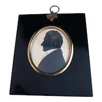 Antique Georgian portrait silhouette, framed