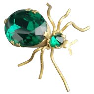 Antique emerald paste spider brooch, Victorian bug brooch