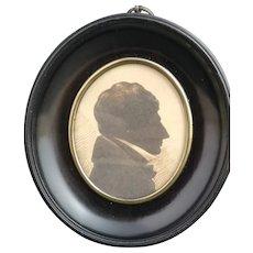 Antique Georgian portrait silhouette, oval frame