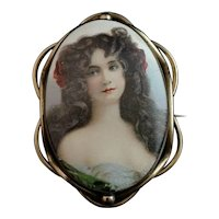 Antique Victorian portrait brooch, pinchbeck