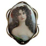 Antique Victorian portrait brooch, pinchbeck