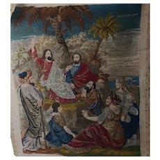 Victorian Berlin woolwork tapestry, Jesus preaching
