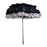 Antique Victorian mourning parasol