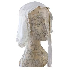 Antique Regency whitework bonnet