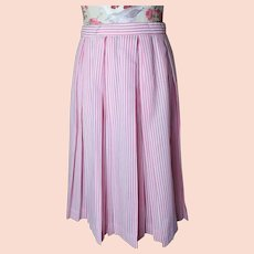 Vintage 1950's box pleat skirt, candy stripe