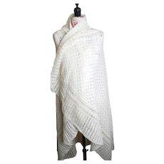 Antique wool crochet shawl