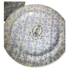 Victorian blue and white transferware plates, Queen Victoria Jubilee