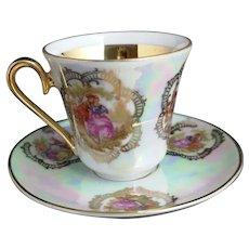 Vintage German tea cup and saucer, lustreware