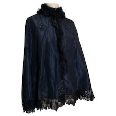 Antique Victorian mourning cape, jet beaded