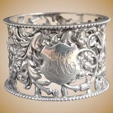 Antique Victorian pierced silver napkin ring