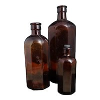 Antique brown glass bottles, hexagonal, medical, apothecary