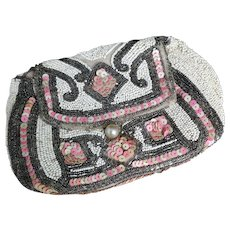 Vintage French Art Deco purse, beaded and sequin