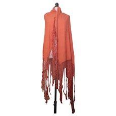 Vintage French crepe shawl, burnt orange