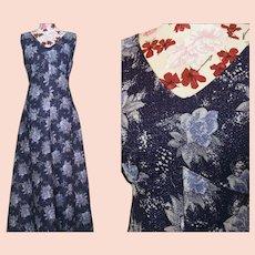 Vintage 50's purple floral dress, long