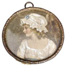 Antique Victorian portrait miniature, child